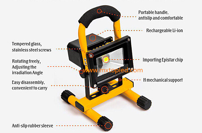 10w led rechargeable flood light detail